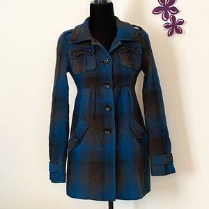 H&M Fall Coat Blue & Black Checkered High Waist sz 2